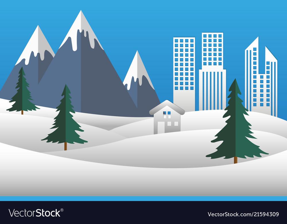 Christmas landscape city mountain snow nature