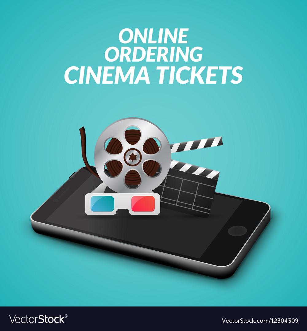 Cinema movie ticket online order concept mobile