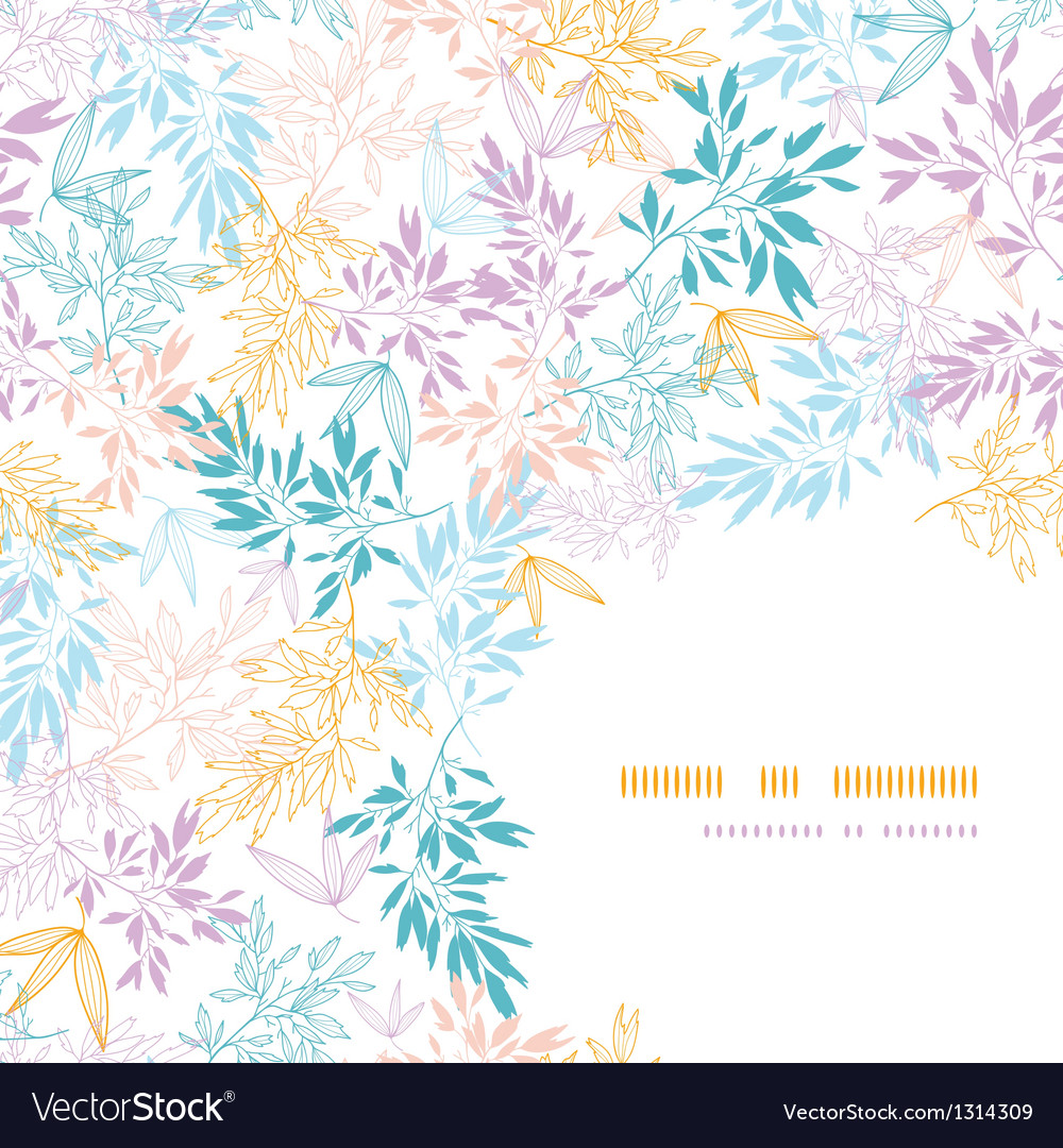 Colorful pastel branches corner seamless pattern
