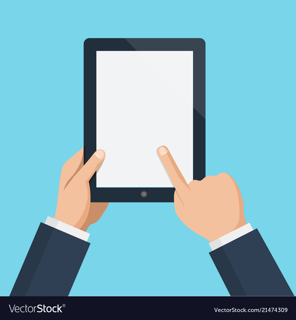 Finger touching blank screen of vertical tablet