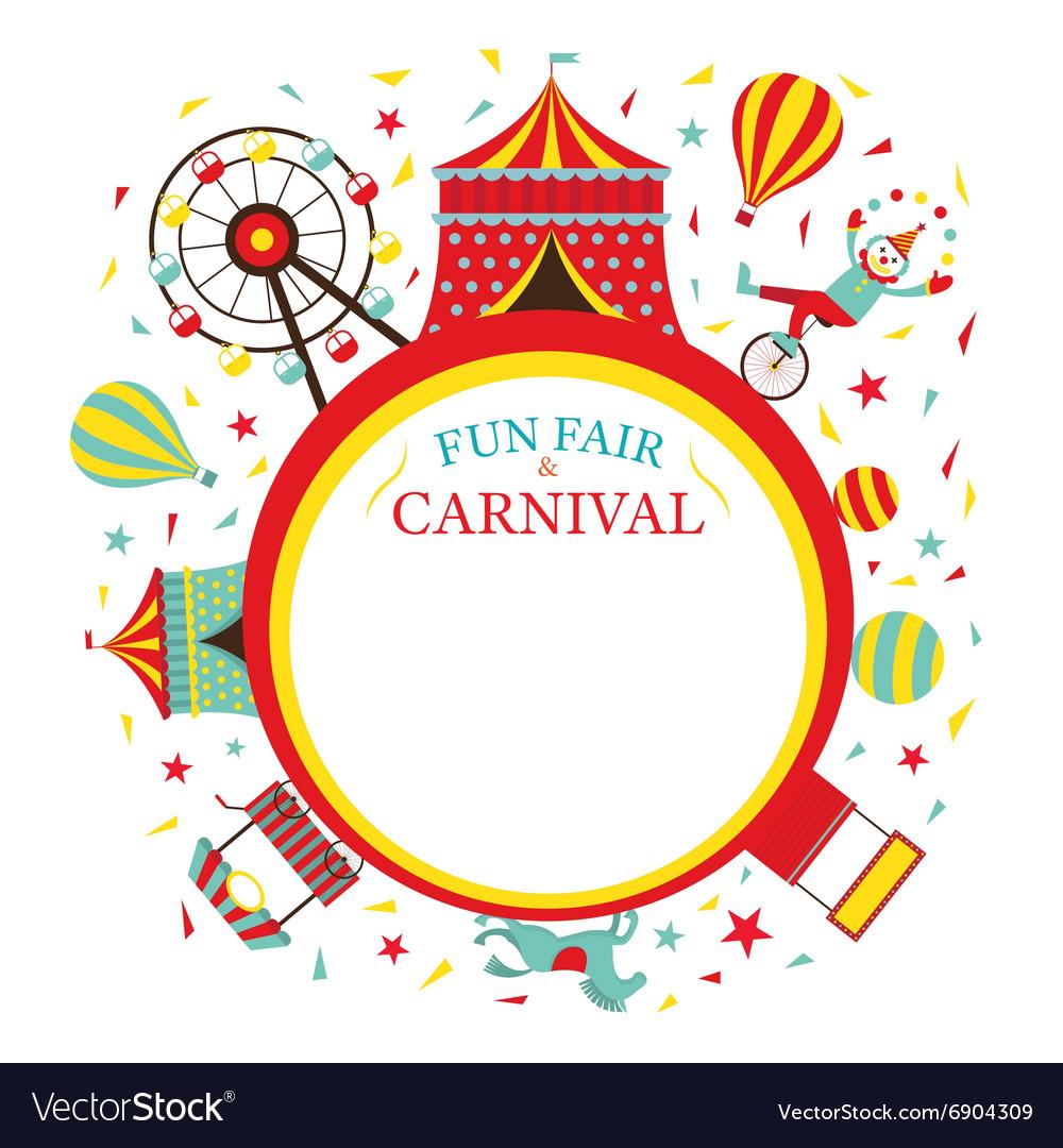 Fun Fair Carnival Circus Round Frame Royalty Free Vector