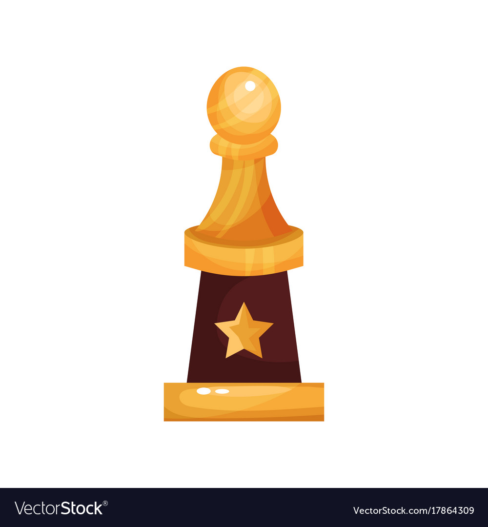 Golden Golf Award Trophy With Ball Cartoon Vector Image