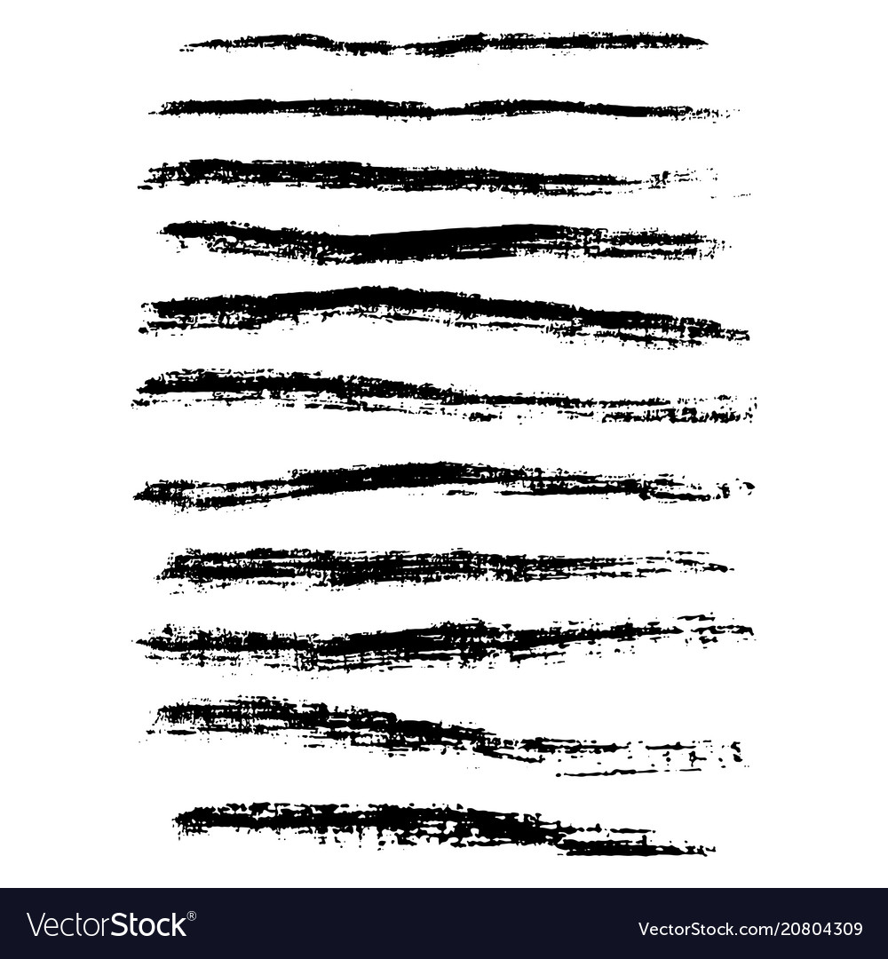 Grunge chalk strokes freehand black brushes vector image