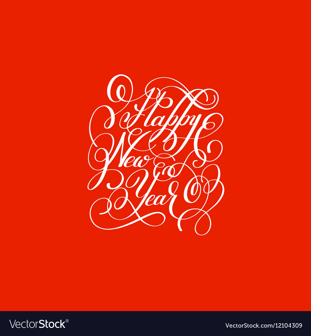 Happy New Year circle hand lettering logo