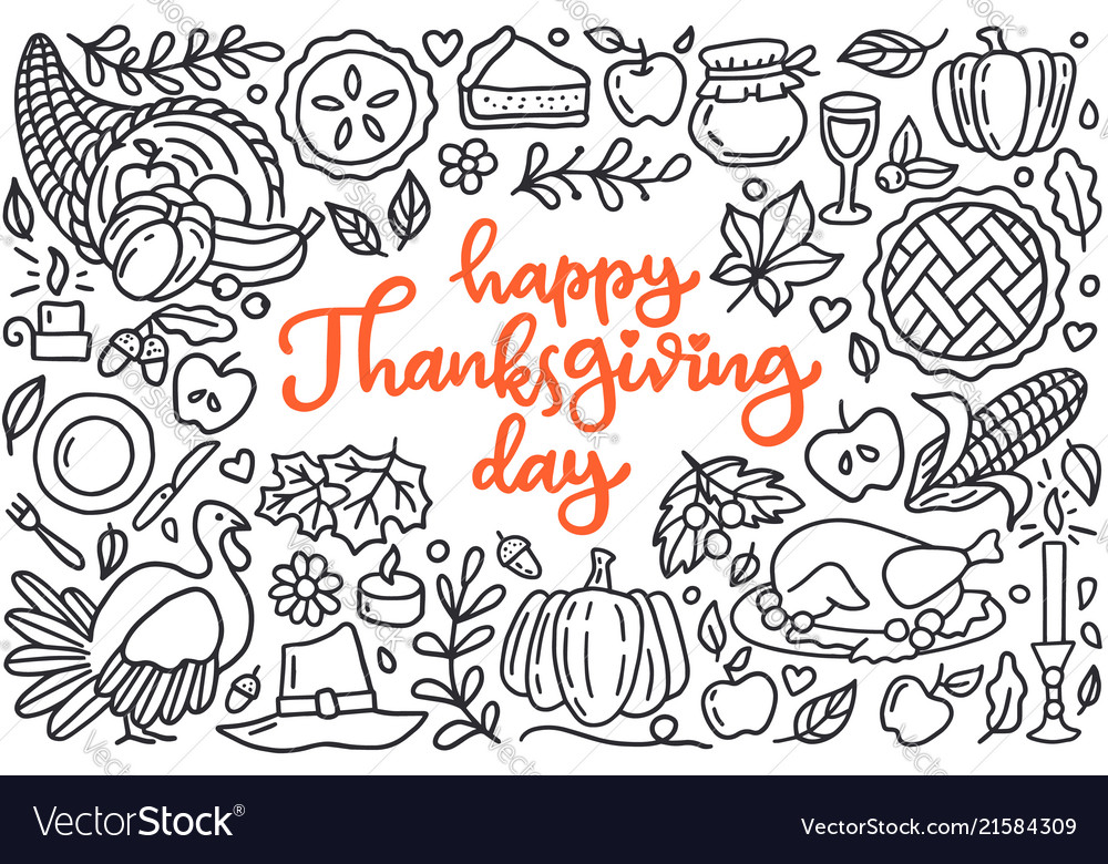 Happy thanksgiving day poster with greetings