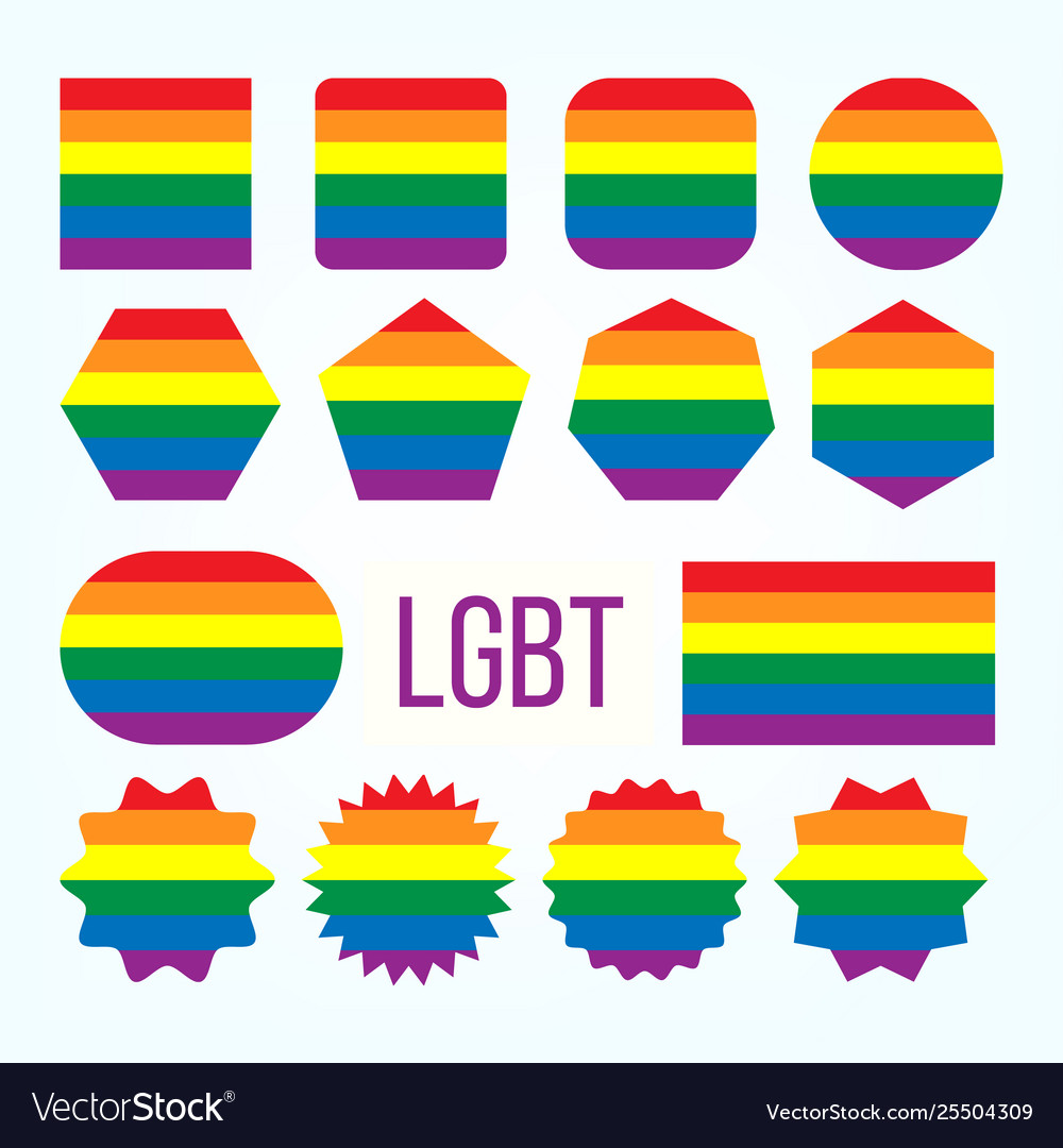 Lgbt pride flag collection figure icons set