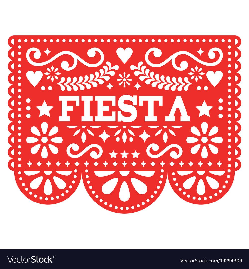 image regarding Papel Picado Templates Printable identify Mexican fiesta papel picado style and design in just crimson vector impression
