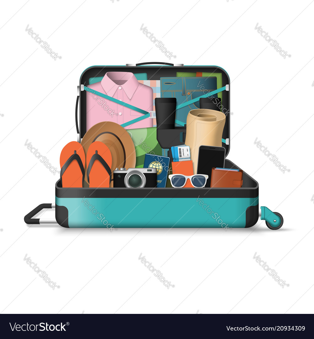 Opened travel suitcase full of things for vacation