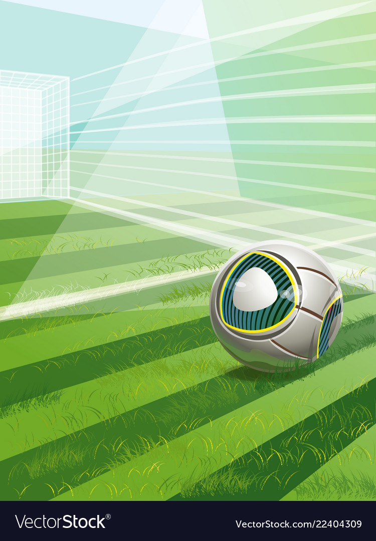 Soccer field with goal ball and text