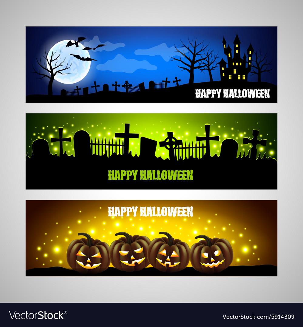 Three horizontal Halloween banners