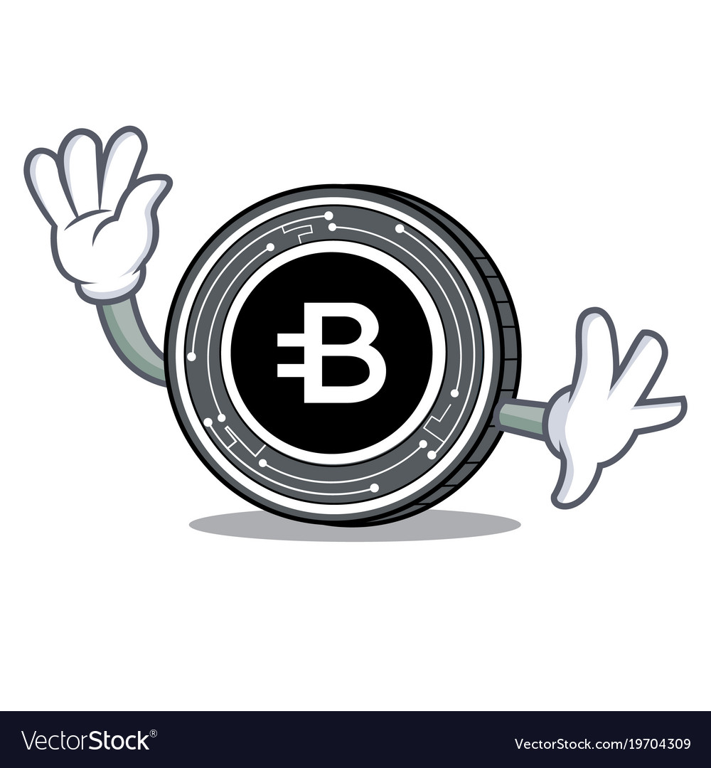 Waving bytecoin coin character cartoon