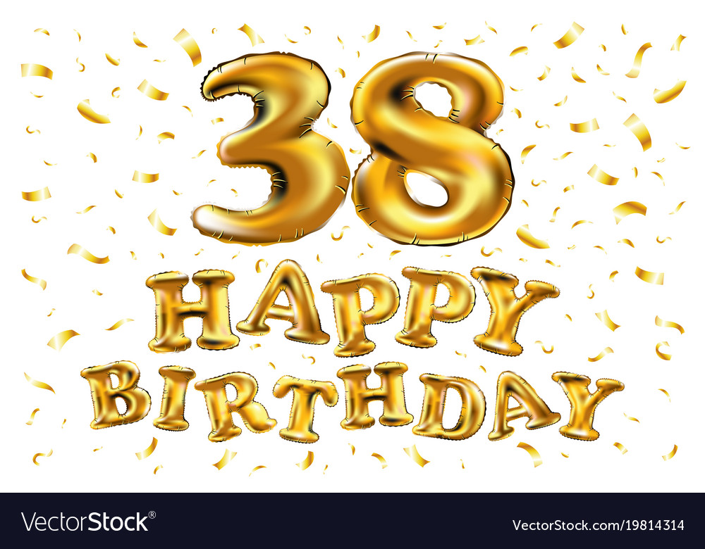 38 Years Anniversary Happy Birthday Joy Royalty Free Vector