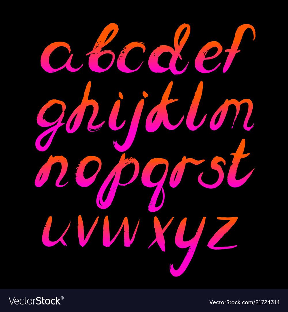 80 s retro alphabet hand drawn letters