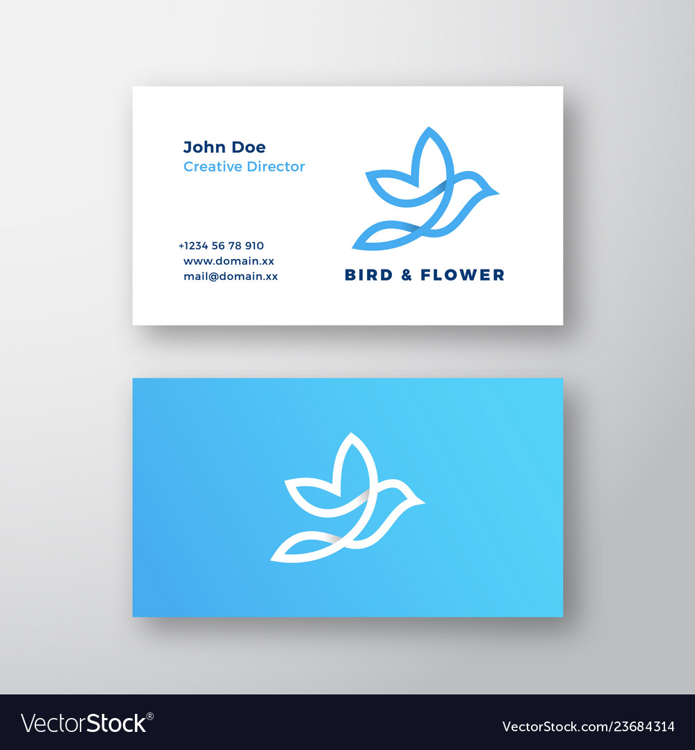 Abstract flying bird and flower logo and