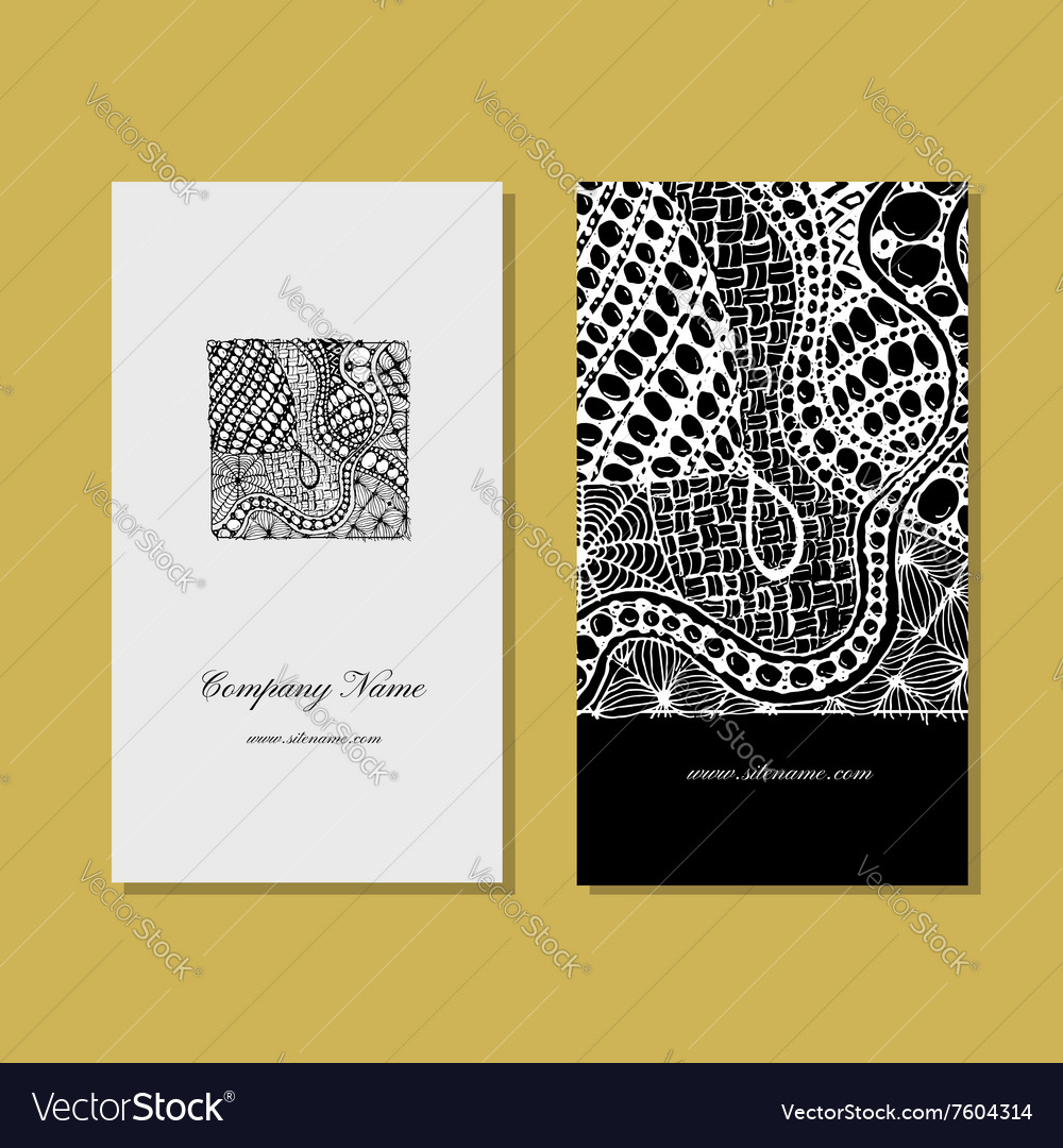 Business card zentangle ornament design Royalty Free Vector