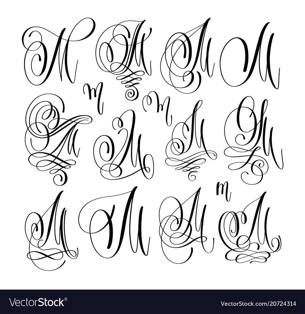 Calligraphy lettering script font m set hand