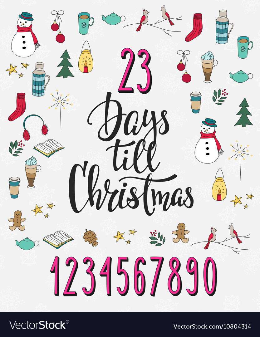 Christmas Count Down.Christmas Countdown Lettering Typography Set