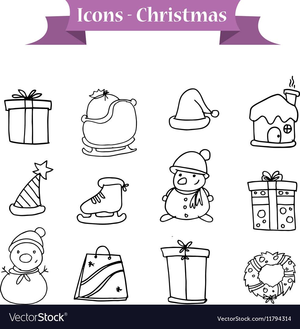Christmas icons set of hand drawn