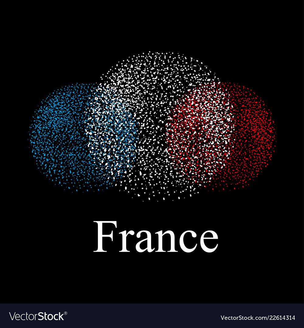 Flag of france in the form of spheres on a black