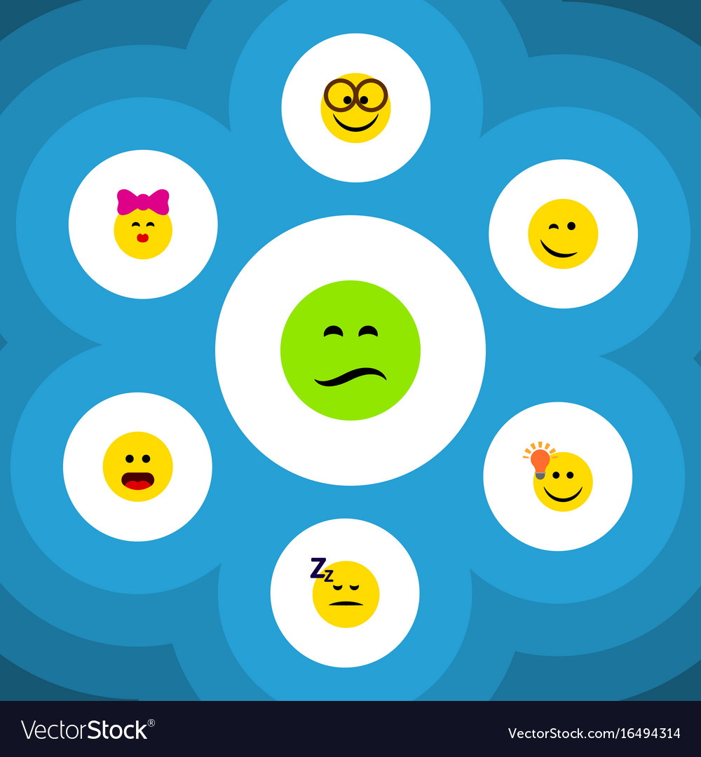 Flat icon face set of frown caress wonder and
