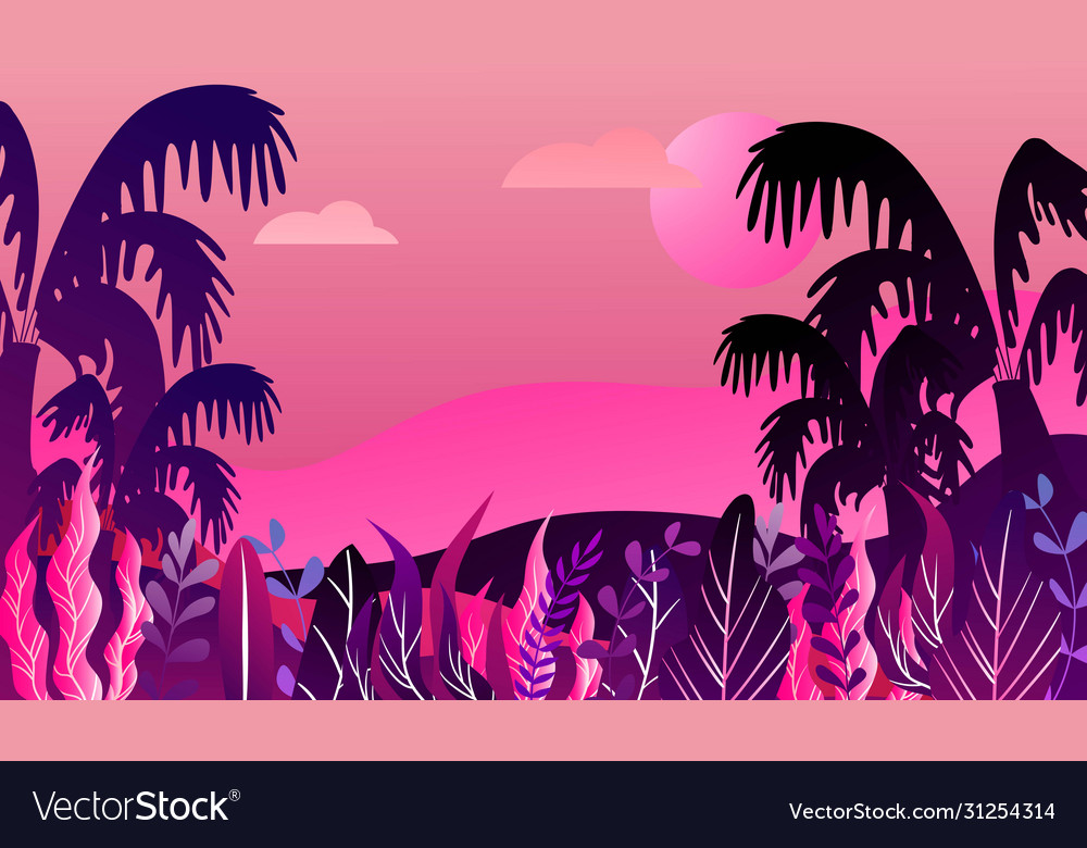 Futuristic tropical landscape with palm trees and