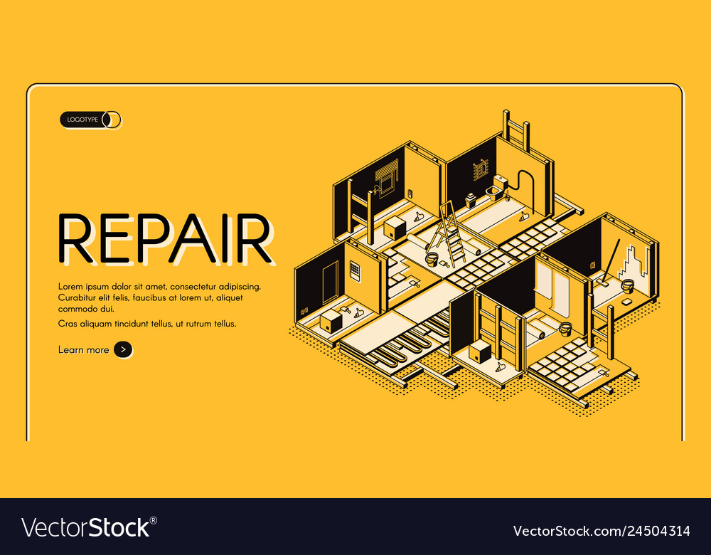 House repair company isometric website