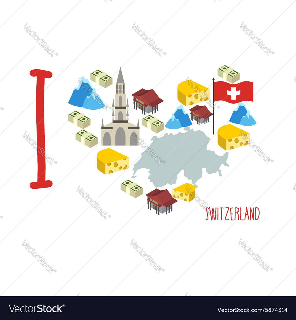 I love Switzerland Symbol heart of cheese and Alps