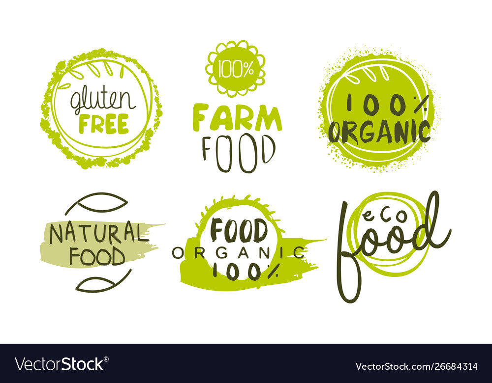 Natural organic food green labels set eco bio