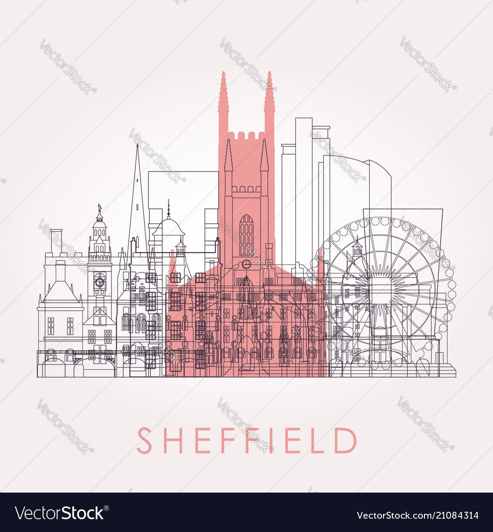 Outline sheffield skyline with landmarks
