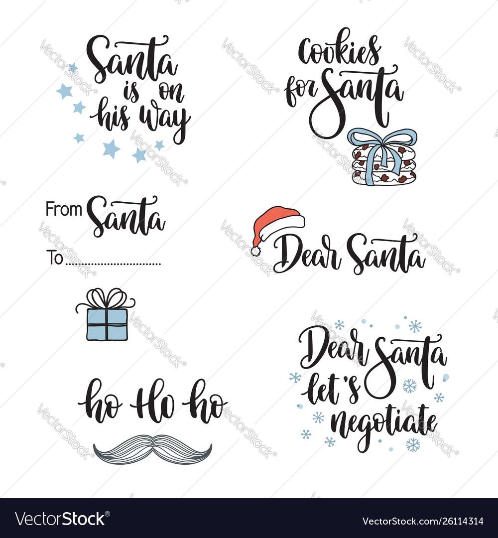 Santa related phrases lettering set