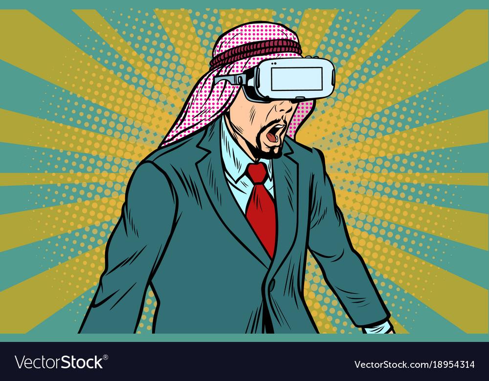 Surprised arab businessman in vr glasses