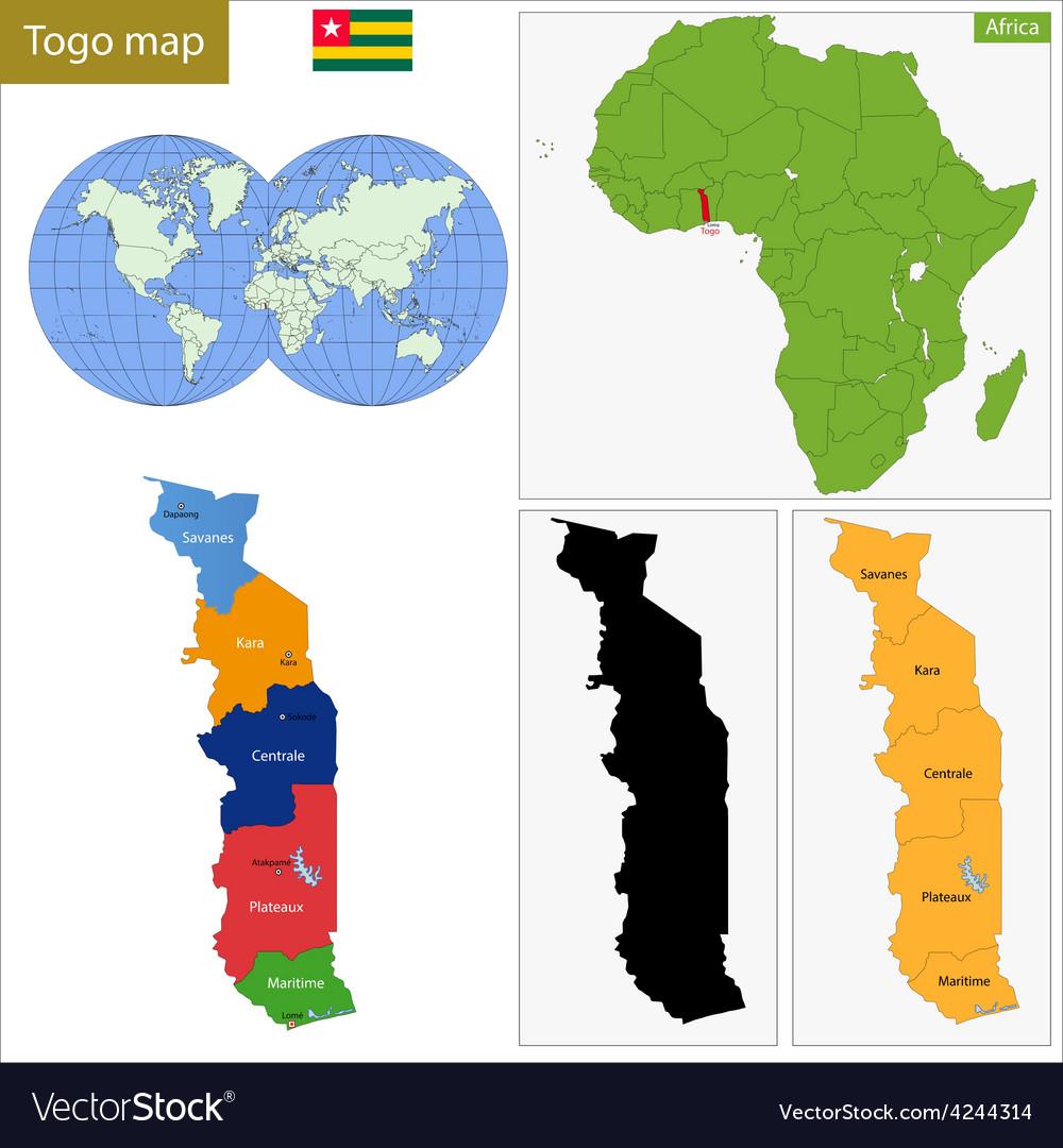 Togo map Royalty Free Vector Image - VectorStock