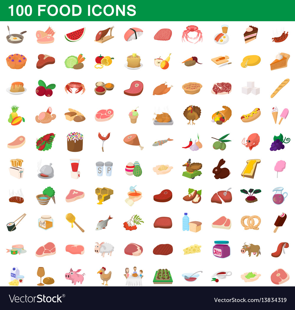 100 food icons set cartoon style