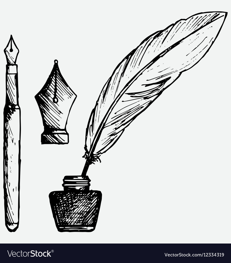 Ancient pen inkwell and old ink pen royalty free vector ancient pen inkwell and old ink pen vector image altavistaventures Images