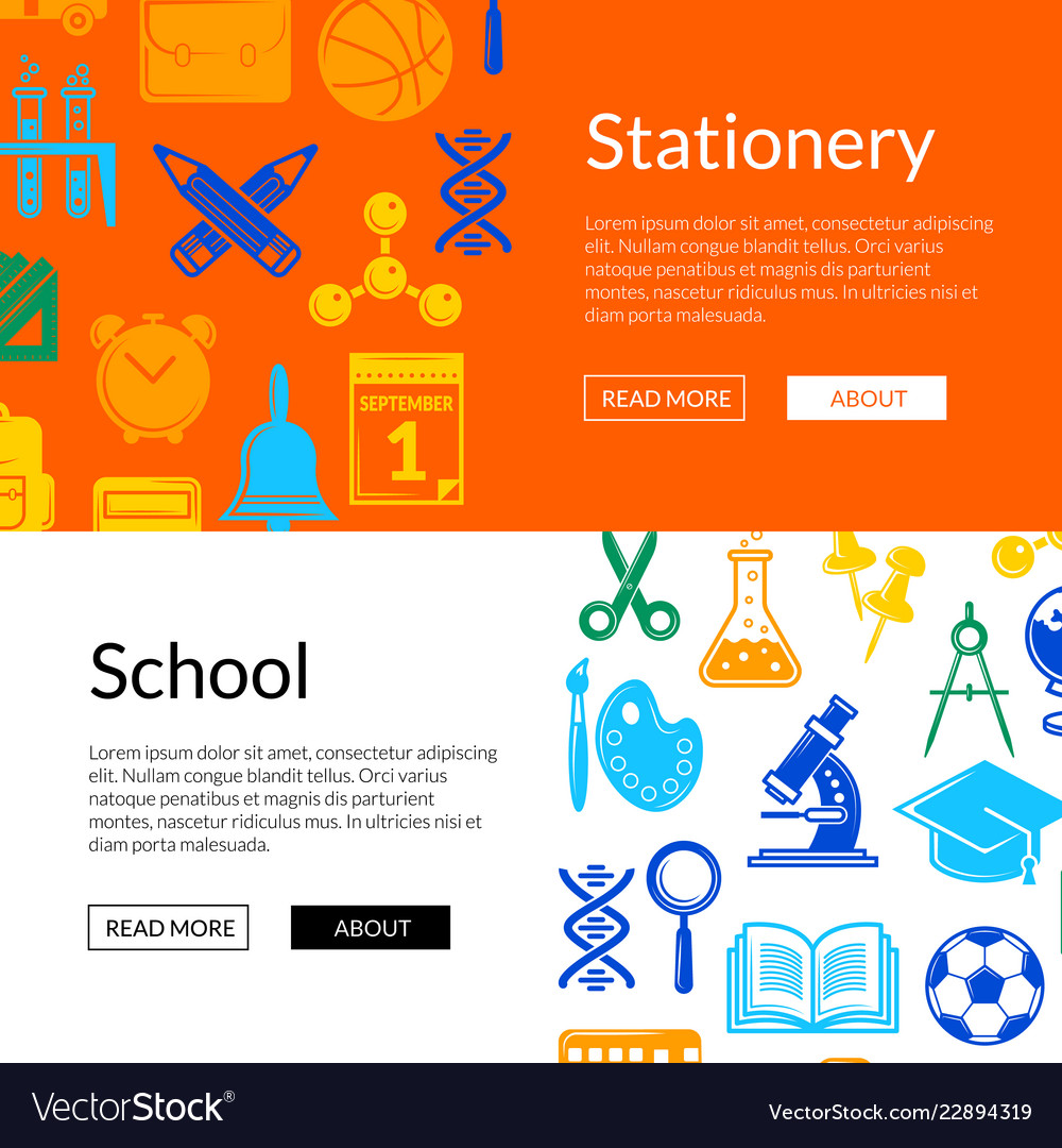 Back to school stationery web banner