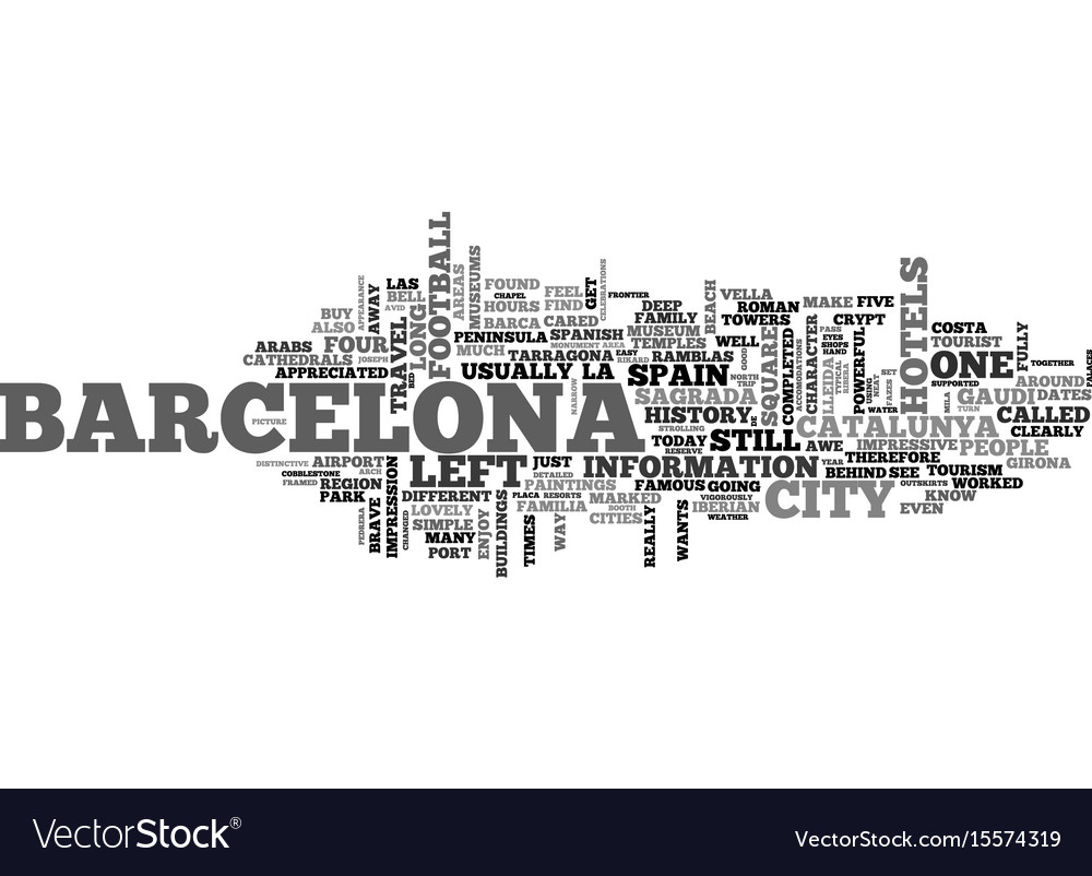 Barcelona spain so much fun in one day text word vector image