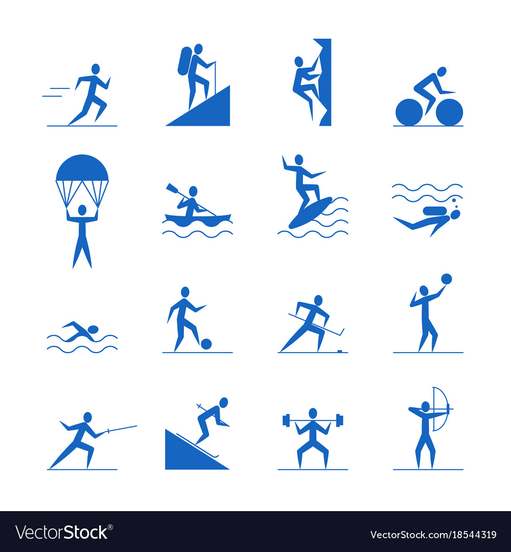 cartoon outdoor activities sports games blue icons. Black Bedroom Furniture Sets. Home Design Ideas