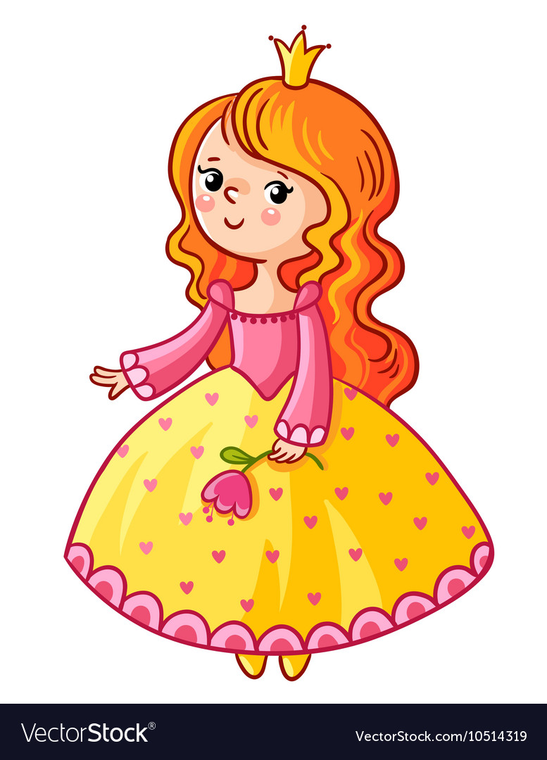 Cute Princess stand on a white background