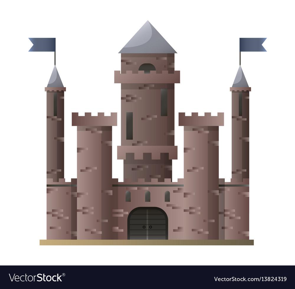 Dark brown cartoon medieval castle with high vector image