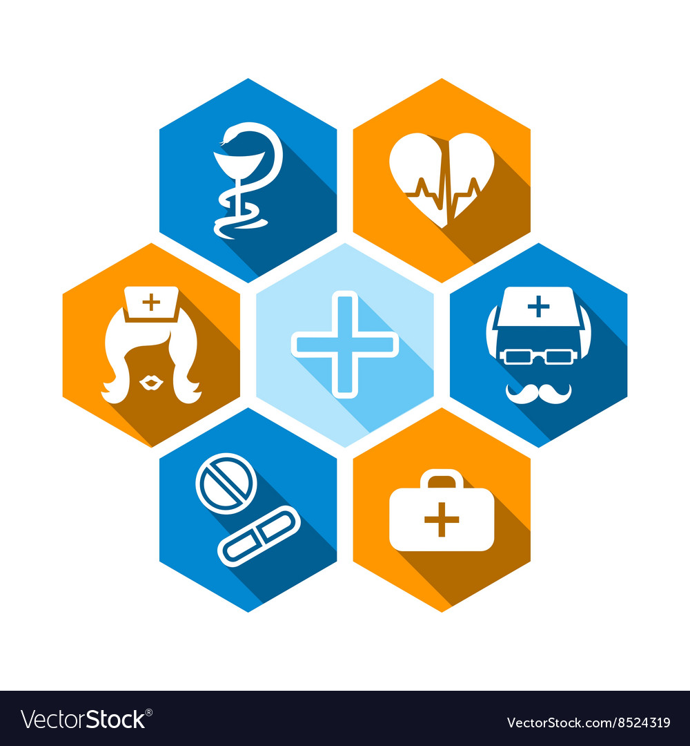 Flat medical icons with shadow