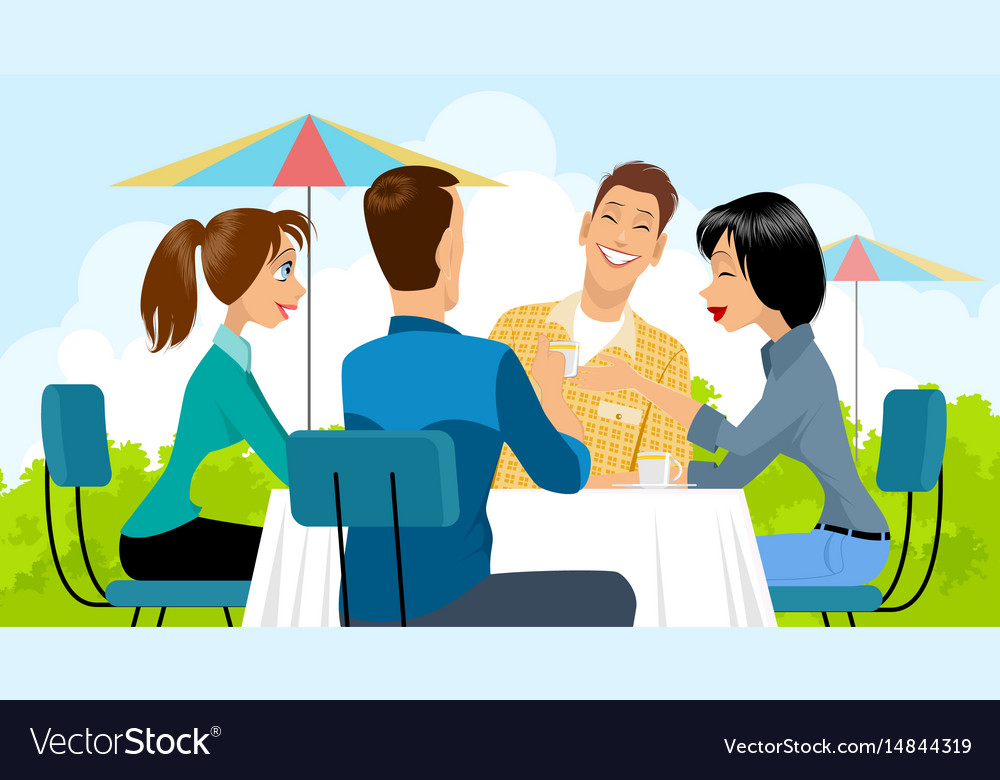 Group of people in cafe vector image