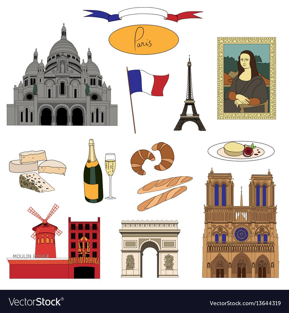 Hand-drawn paris landmarks and food colorful set
