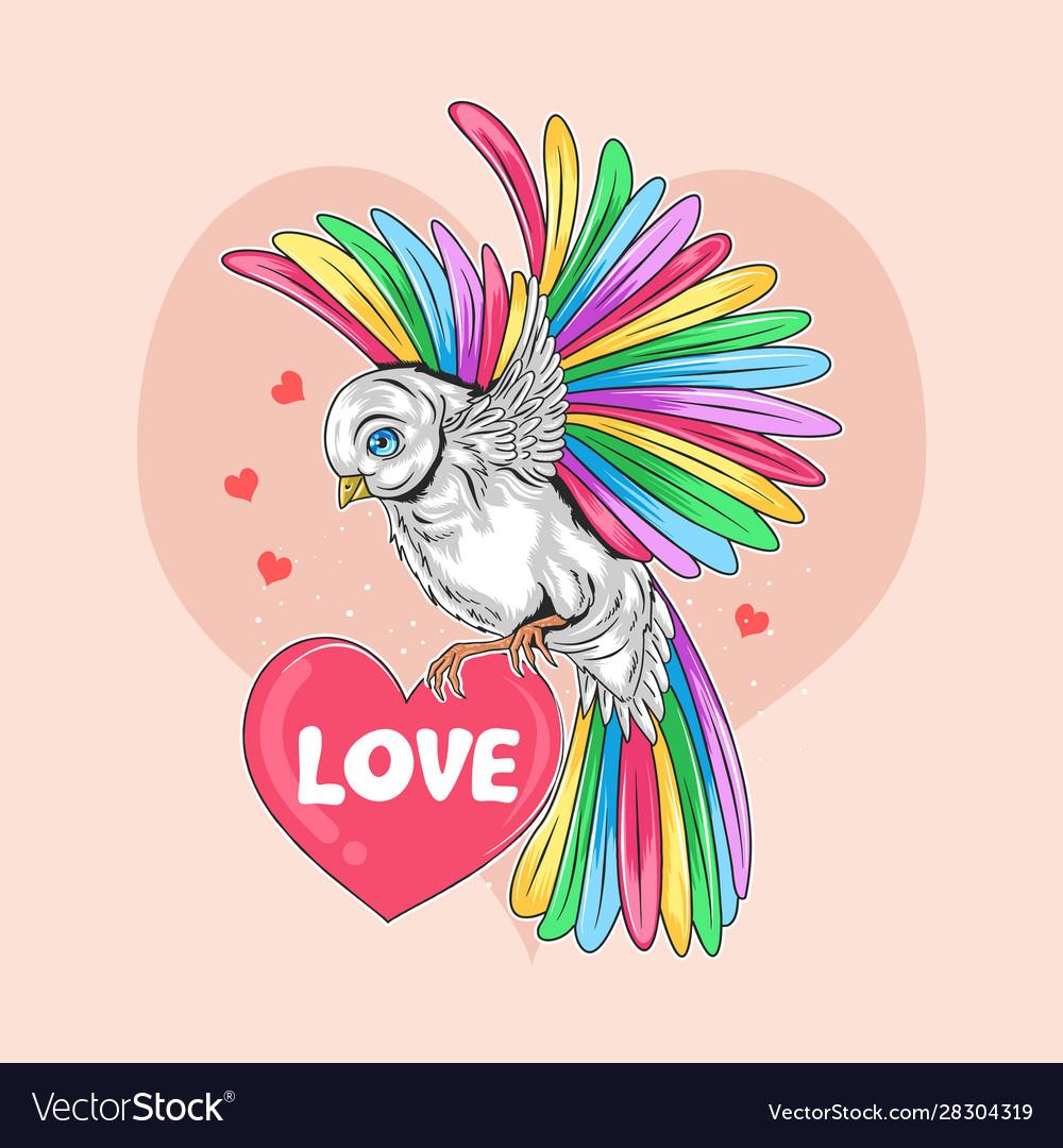 Love valentine day bird full colour rainbow unicor