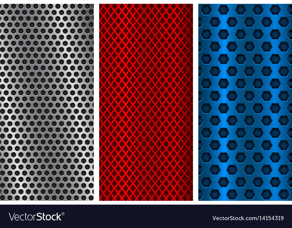 Metal perforated backgrounds red blue and silver