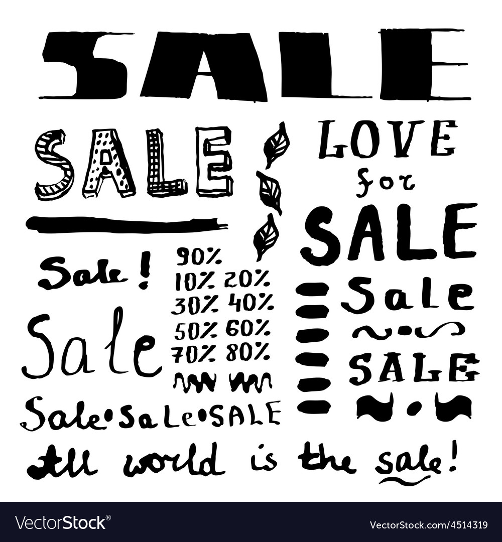 Sketch sales lettering in vintage style