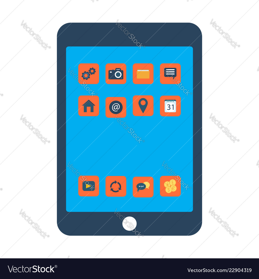 Tablet screen with colorful icons