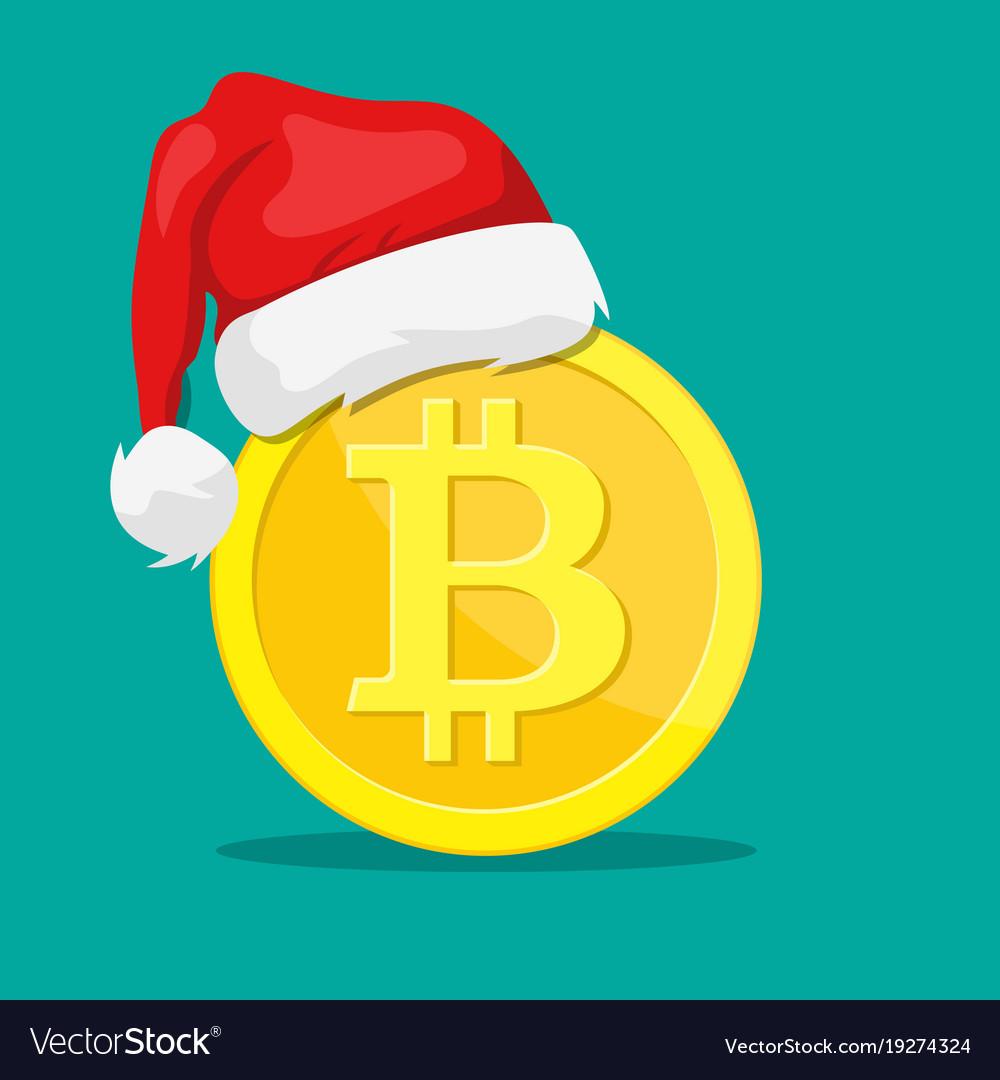 77b0ed04604ff Bitcoin and santa claus hat Royalty Free Vector Image