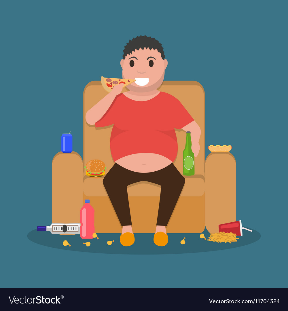 Cartoon fat man sitting on couch eat junk food