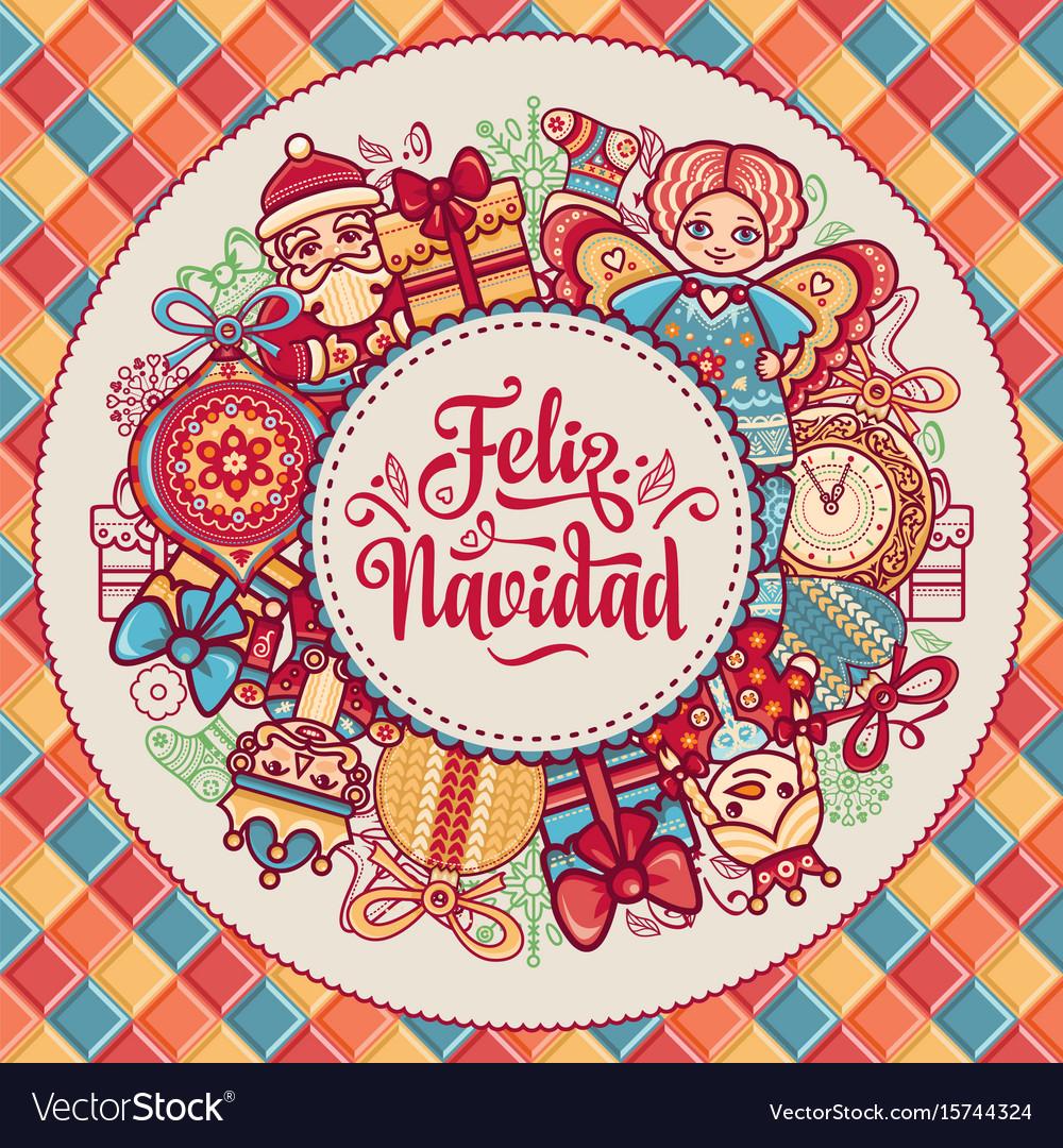 Feliz Navidad Greeting Card In Spain Background Vector Image