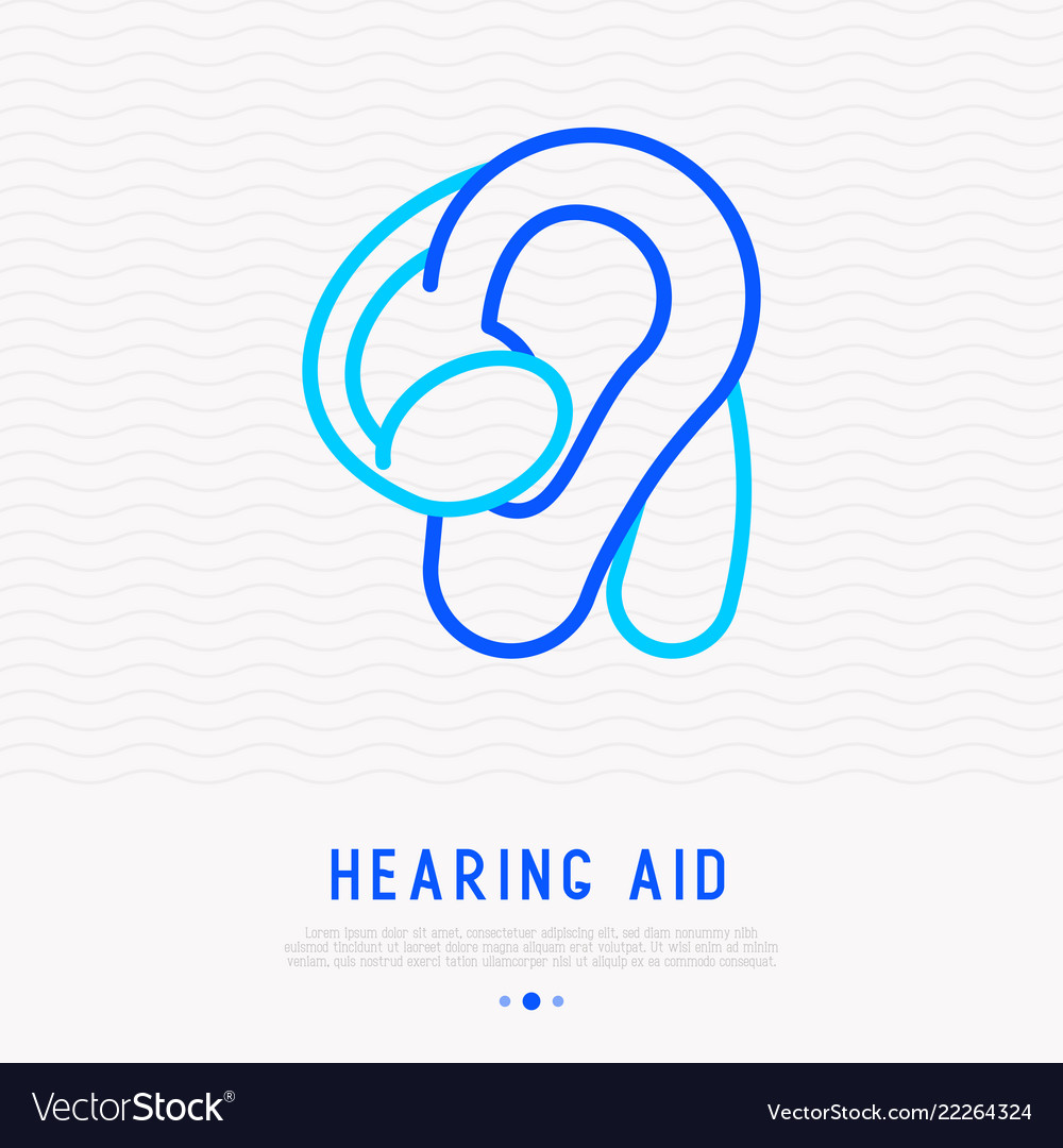 Hearing aid thin line icon